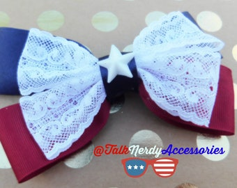 Burgundy Navy and White Lace Patriotic Hair Bow