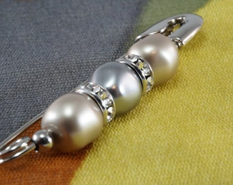 Grey and Platinum Baroque Swarovski® Crystal Pearl Fashion Safety Pin Brooch