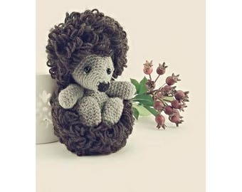Knitted toys, yarn, wool toys, knitted hedgehog, hedgehog in the fog, cartoon characters, knitted doll