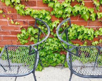 vintage wrought iron patio chairs ( set of 4 )