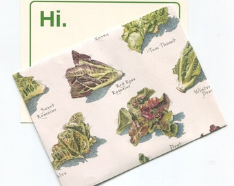 Hi. Notecard with Lettuce-Themed Envelope!