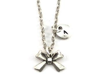 BOW necklace, rockabilly necklace, personalized charm necklace, initial necklace, personalized jewel, charm neckalce, initial jewelry
