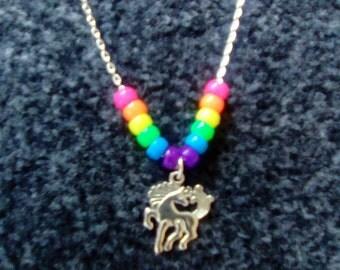 LoliRosa Rainbow Beads & Unicorn Pony Necklace