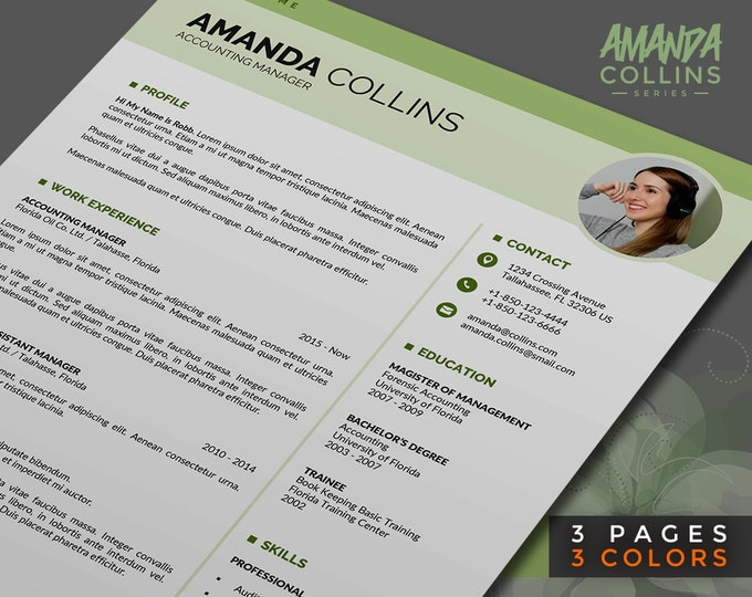 Modern Resume Template / Curriculum Vitae, 3 Pages Word Resume Design with Cover Letter, Instant Download, Easy-To-Edit, 3 Color Themes
