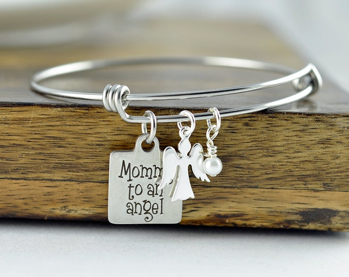 Baby Loss Necklace - Mommy Of An Angel Bracelet - Silver Baby Memorial Bracelet - Silver Angel Bracelet - Silver Memorial Bracelet