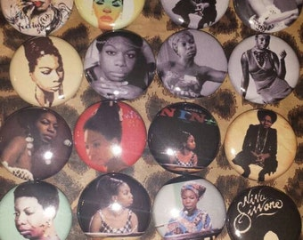 16 Pin Button set  Nina Simone 1 inch Buttons