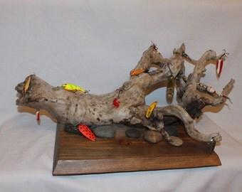 Fishing Lure Art Sculpture - Wood Art - Fisherman - Beach Decor - Drift Wood - Fishing - Angler - Birthday - Anniversary
