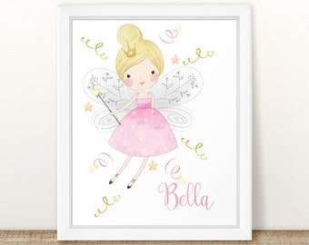 Personalized Baby Gift, Personalized Nursery Print, Custom Name Baby Gift, Fairy Princess Nursery wall art, Baby Shower Gift. Pink and Gold