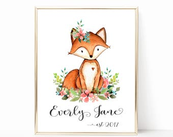 Personalized Baby Gift. Fox Nursery Decor. Woodland Nursery Art. Nursery Animals Prints. Floral Woodland Nursery Decor. Floral Nursery Art.