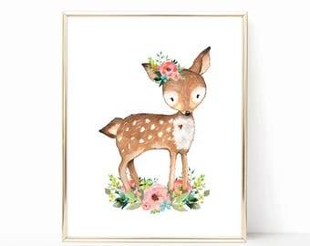 Floral Deer Nursery Art. Woodland Deer Art. Teal Floral Nursery Decor. Cute Deer Print. Deer Printable Nursery Art. Pink and Teal Decor 8x10
