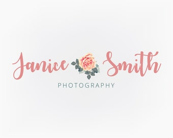 Premade Logo Design, Pink Rose Floral Script Logo, Photography Logo, Small Business Design, Blog Logo, Etsy Logo, Branding Design