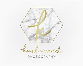 Premade Logo Design - Gold Marble Hexagon Monogram Geometric Logo