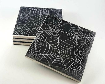 Halloween Coasters - Drink Coasters - Spiderweb Coasters - Halloween Decor - Ceramic Tile Coasters - Spiderweb Decor - Tile Coasters