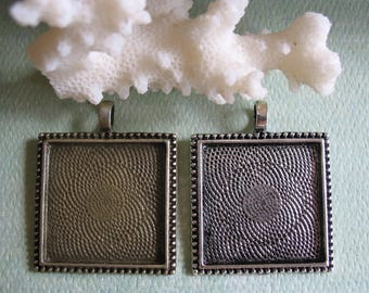 SALE clearance 100 - 1 inch (25mm) square Pendant Tray Settings Blanks Antique Silver Antique Bronze Cabochon Mix and Match Coastal Shore