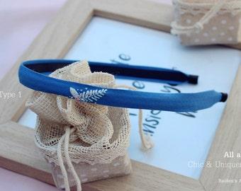 Leaf embroidery blue headband and multi sash-girls women hair accessory