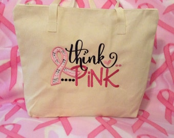 Think Pink  Applique Ribbon Tote