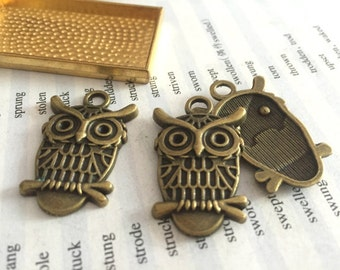 100 Pieces /Lot Antique Bronze Plated 21mmx33mm owl Charms