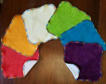 "6 Rainbow 7"" x 7"" Velour Baby Wipes"