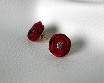 red leather flower stud earrings original design gift for her