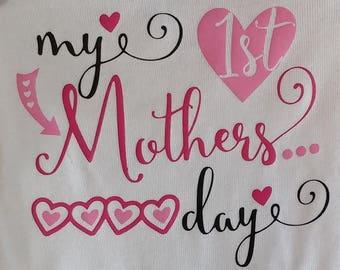 My 1st Mother's Day/ Mother's Day Onesie/ Baby Girl Onesie/ Baby Boy Onesie