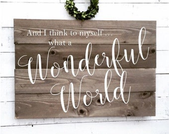 and I think to myself what a wonderful world, aged wood sign