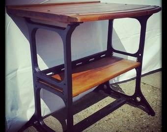 1920s vintage cast iron sewing machine desk/hall table