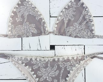 Grey palm tree crochet bikini