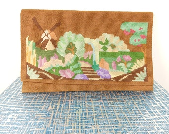 1930s Clutch Purse, Petit Point Brown Bag, True Vintage Bag, Embroidered Purse, Windmill, English Countryside Scene