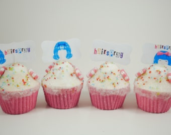 Hairspray musical cupcake toppers, Hairspray  party theme, birthday party cupcake topper, Hairspray cupcake picks, Broadway musical