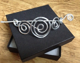 Swirly silver shawl pin, scarf clip, hair slide, sweater pin, brooch for knitwear, handmade jewellery, gift for her