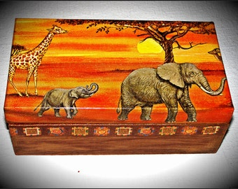 Decoupage box home decor wooden box  Gift for a man Organizer box  Casket for money Wedding box  Personalised box jewelry box keepsake box