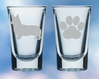 Set of 2 Corgi and paw shot glasses - gift - permanently etched