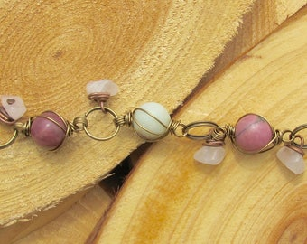 Rhodenite, Amazonite, and Rose-Quartz Hanging Bead Wire-Wrapped Bracelet