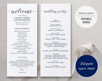 Wedding Program Template, Printable Wedding Program Ceremony Printable Template Instant Download Editable Elegant Navy Calligraphy #SPP008pr