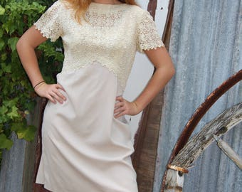 Fawn guipure lace and polyester 1960's dress, Aus size 12