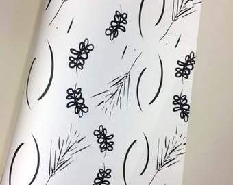 Painterly Floral Brush Stroke Wrapping Paper. Gift Wrap