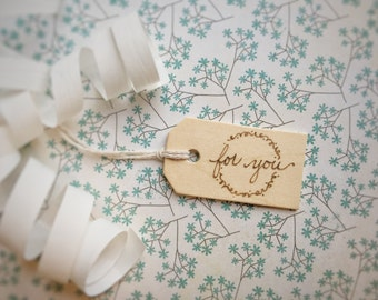 """Set of 3 Hand Burned Wooden Gift Tags, """"For You"""" Set, Natural Reusable Wood Gift Tag, Perfect for Birthdays, Weddings, Any Occasion"""