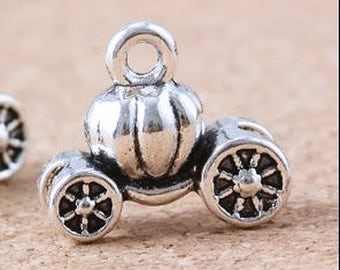 6, Pumpkin Carriage Charms, Cinderella Carriage Charms, Silver Carriage Charms Diy jewelry supplies, Craft supplies, Fairy Tale Charms