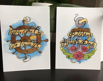 Anchor and Helm Watercolor Painting Quote Print 2 for 1