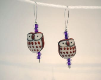 Cute Brown Owl Glass Hand-beaded Stitch Markers for Knitters, set of 2