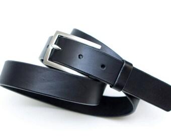 Leather belt - black - 3 cm - 107 cm