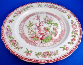W.R. Midwinter Ltd. Staffordshire England Red Transferware India Tree  DINNER PLATE 10-1/8""