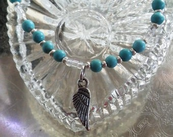 Turquoise with Angel Wing Beaded Bracelet, Handmade