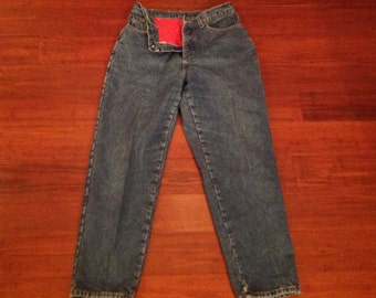 LL Bean High Waisted Mom Jeans Red Flannel Lined,Medium Wash .