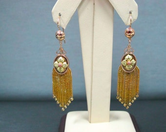 Antique Unique Three Color Gold Beautiful Dangle Flowers Earrings