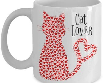 Cat Lover Mug - Cat & Animal Lover Mugs From Abstract Animal Art - Fun Mother's Day or Birthday Gifts for Women - Cat with Hearts - 11oz Cup