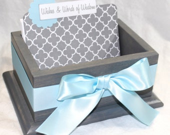 Baby Shower Guest Box, Light Blue and Gray Baby Shower, Baby Blue Guest Book, Baby Shower Card Box, Advice Box, Baby Boy, Advice Cards