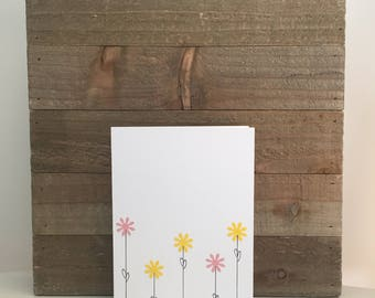 Flowers Card Set / Yellow and Pink Flowers / Blank Greeting Card