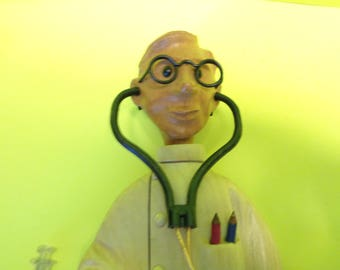 Vintage Hand Carved Romer Wooden Doctor Complete Made in Italy
