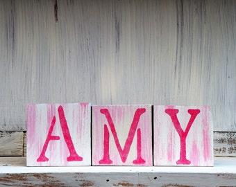Country Baby Blocks, Baby's Name Blocks, Baby Girl Nursery Decor, Little Girl's Room, Baby Girl's Birthday Gift, Custom Name Blocks for Baby